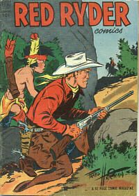 """the Red Ryder comic book appeared in the newspaper strip """"RR and Little Beaver"""" (1938), plus comics books, movies, and two TV pilots of the nineteen fifties."""