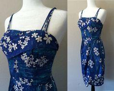 Vintage 50s Alfred Shaheen Hawaiian Sarong Rockabilly wrap cotton sun dress M #AlfredShaheen #Hawaiian #Casual