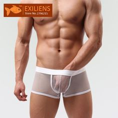 Wallmart.win [EXILIENS] Hot Underwear Men's Shorts Boxers Sexy Transparent Solid Grid Panties Male Brand Man Underpants GAY Solid Size M-XXL