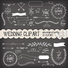 Chalkboard Wedding laurel clipart, wedding invitation, vintage clipart, chalkboard clipart, small comercial use, INSTANT DOWNLOAD