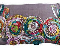 Flower fabric rectangular cushion