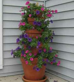 How to Make A Terra Cotta Pot Flower Tower Planter with Annuals