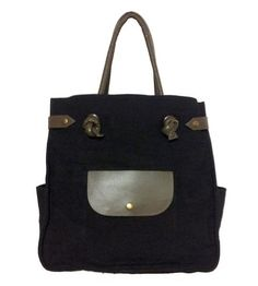 Large Hemp & Leather Tote Bag with Pockets by Mei Vintage on Scoutmob Shoppe
