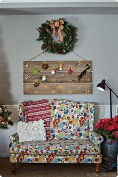 #diy advent calendar with wood planks. #thrifty #repurposed All Things Thrifty Christmas Decorations 2013