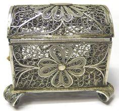 Antique Silver Filigree Box.