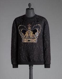 BROCADE SWEATSHIRT WITH EMBROIDERED CROWN - Sweatshirt - Dolce&Gabbana - Winter 2015