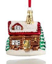 Holiday Lane Glass Log Cabin Christmas Ornament