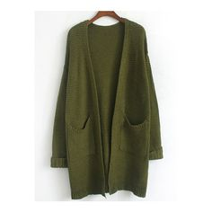 SheIn(sheinside) Army Green Long Sleeve Pockets Coat ($17) ❤ liked on Polyvore featuring tops, cardigans, outerwear, sweaters, jackets, shirts, green, green shirt, olive green long sleeve shirt and long sleeve cardigan