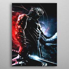 Ninja Gaiden Ryu Hayabusa poster by from collection. By buying 1 Displate, you plant 1 tree. Arte Ninja, Ninja Art, Hammer Marvel, Ryu Hayabusa, Mortal Kombat Art, Ninja Gaiden, Green Lantern Corps, Celtic Dragon, Samurai Art