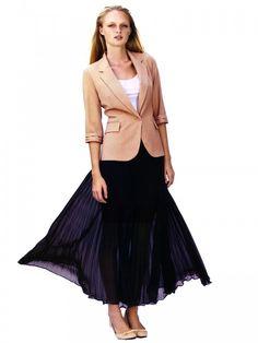 Pleat Chiffon Maxi Skirt