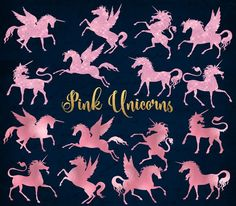 Pink Unicorn and Pegasus Clipart by Origins Digital Curio on Design Your Own Invitations, Black Unicorn, Unicorn Halloween, Printable Scrapbook Paper, Horse Silhouette, Photoshop, Paint Markers, Pencil Illustration, Creative Words