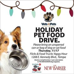 Thanks to Tails Around Town, THE NEW BARKER will be picking up a large pet food donation to help kick off the Holiday Pet Food Drive for Vets4Pets Charitable Clinic. Come help us out by donating an unopened bag or can of dog or cat food during tomorrow's Flicks + Food Trucks Yappy Hour in Channelside. You'll receive a complimentary one-year subscription to THE NEW BARKER dog magazine in #exchange for your pet food #donation.