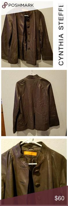 Spotted while shopping on Poshmark: 350 CYNTHIA STEFFE Leather Mandarin Jacket! #poshmark #fashion #shopping #style #Cynthia Steffe #Jackets & Blazers