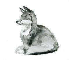 Origineel vos schilderij. Zen Aquarel vos. Dier door Zendrawing, €47.50