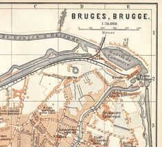 1888 vintage city map bruges brugge belgium by carambas on etsy 1400