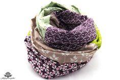 Tuch ganz bunt ... Patchwork Rundschal von #Lieblingsmanufaktur: lila, beige, grün