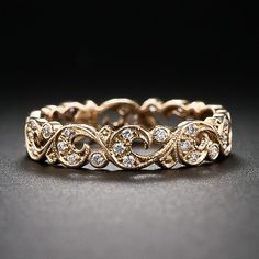 Vintage Style Rose Gold and Diamond Wedding Band