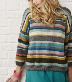 279ee791390d Stashbuster Striped Knitted Sweater! Worked in random stripes using yarn  that can be substituted from