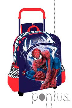 Mochila Spiderman c/trolley 42x32x14cm | JB