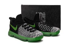 outlet store 10bb3 06426 Kevin Durant KD 9 ID Elite Flyknit Grey Black Poison Green Cheap Priced