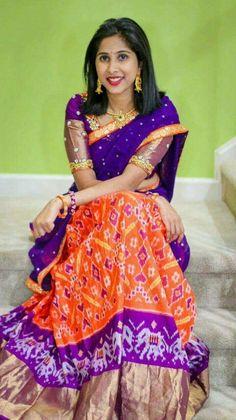 Ikkat lehenga Available in Stock For more details contact me in WhatsApp at Pattu Saree Blouse Designs, Half Saree Designs, Fancy Blouse Designs, Bridal Blouse Designs, Lehenga Designs, Half Saree Lehenga, Saree Dress, Anarkali, Kids Lehenga