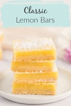 These Classic Lemon Bars feature an easy homemade shortbread crust with a sweet and tangy lemon filling.These bars are delicious and so easy to make! Lemon Curd Dessert, Lemon Dessert Recipes, Lemon Recipes, Köstliche Desserts, Baking Recipes, Sweet Recipes, Easter Recipes, Recipes For Lemons, Desserts With Lemon