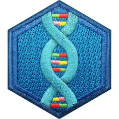 Geneticists explore the secret code of DNA. We can reveal why creatures are the way they are and do what they do. Cute Patches, Pin And Patches, Iron On Patches, Girl Scout Patches, Girl Scout Camping, Embroidered Badges, Secret Code, Merit Badge, Gumball