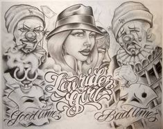 Some chicano art Chicano Tattoos, Chicano Style Tattoo, Chicano Drawings, Gangsta Tattoos, Skull Tattoos, Tattoo Drawings, Body Art Tattoos, Art Drawings, Boog Tattoo