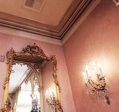 Gold mirror & pink wallpaper, Disneyland, by Emily Faulstich Rose Gold Aesthetic, Brown Aesthetic, Aesthetic Pastel, Aesthetic Themes, Pink Brown, Pink And Gold, Princess Aesthetic, Pink Wallpaper, Golden Wallpaper