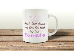 Becher & Tassen - TASSE Kaffeebecher DORNRÖSCHEN Lustig Müde Krone - ein Designerstück von Interluxe bei DaWanda