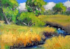 modern art original 5x7 oil painting impressionist landscape of summer landscape affordable by KRBStudioDesigns on Etsy