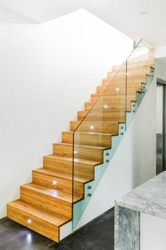 Stairway lighting Ideas with spectacular and moderniInteriors, Nautical stairway, Sky Loft Stair Lights, Outdoors Stair Lights, Contemporary Stair Lighting. Glass Stairs, Glass Railing, Stair Railing, Railing Design, Staircase Design, Stair Design, Stairway Lighting, Wall Lighting, Traditional Staircase