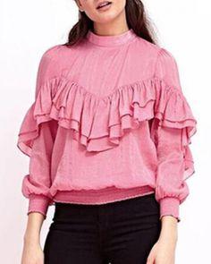Sweet pink ruffle t shirt for women plain long sleeve tops keyhole design