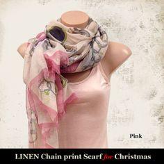 Linen Chain print scarf (Pink)