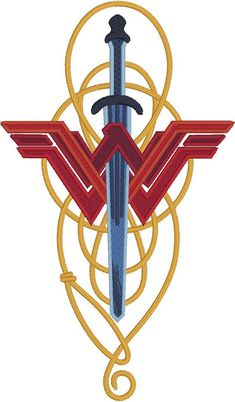 "Wonder Woman lasso & sword machine embroidery design 5x7 Stitches: 23304 Size: 4 1/16"" x 6 7/8"" This is not a finished product. This is a machine embroidery design file. You must have an embroidery machine to work with these files. YOU MUST HAVE THE REQUIRED HARDWARE AND SOFTWARE"