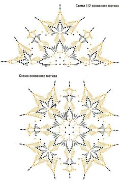 Crochet Snowflake Pattern, Crochet Doily Diagram, Crochet Stars, Crochet Square Patterns, Christmas Crochet Patterns, Crochet Snowflakes, Crochet Mandala, Crochet Motif, Crochet Designs