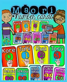 Tahi - rua - toru - wha!  Add a splash of colour to your classroom with these bright Māori number cards - simply cut out and laminate before displaying in your room.