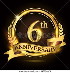 6th golden anniversary logo with ring and ribbon, laurel wreath vector design.