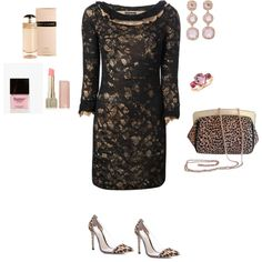 """""""Black lace dress (with Leopard print)"""" by silhouetteimage on Polyvore"""