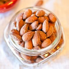 Coconut Cinnamon Sugar Roasted Almonds - Soak nuts first for hours with 1 T. sea salt and filtered water to cover, drain, rinse, pat dry - lots of flavor variations - same process for cashews or peanuts
