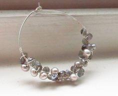 Labradorite earrings pearl June birthstone cream by WynnDesign, $32.00