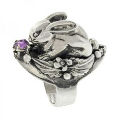 Pre-owned Silver Bunny Rabbit with Amethyst Ring (360 NZD) ❤ liked on Polyvore featuring jewelry, rings, amethyst jewellery, pre owned rings, silver amethyst ring, bunny jewelry and silver rings