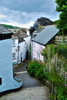 One of the back lanes in Fowey, Cornwall, England