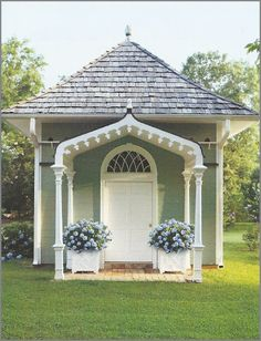 """Not a dovecote but a """"Pigeonnier with Gothic arch, designed by Gatewood. Garden Buildings, Garden Structures, Outdoor Rooms, Outdoor Living, Garden Cottage, Home And Garden, Southern Cottage, Southern Gothic, Southern Charm"""