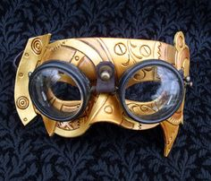 Fullsteam Vintage Goggles Steampunk Mask... original handmade leather mask in brass and gold tones - Merimask Designs