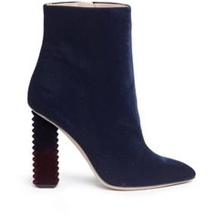Aperlai Alice D Grad Jagged Heel Velvet Boots ($735) ❤ liked on Polyvore featuring shoes, boots, zip boots, velvet boots, zipper booties, velvet booties and almond toe boots
