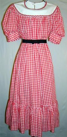 Vintage Retro 1970's Red Gingham Dress Princess Sleeve Button Up Back Yoke dress