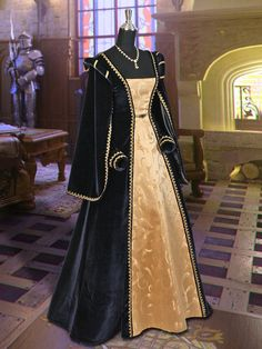 Renaissance Dress Handmade from Velvet and Brocade Dark Blue and Gold No.5