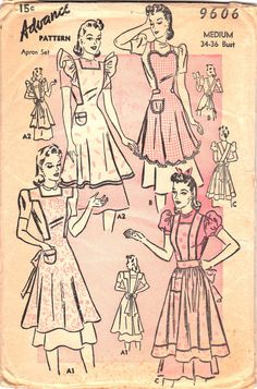 Vintage Apron Pattern 1940s 1950s Advance 9606 by OneMoreCupOfTea