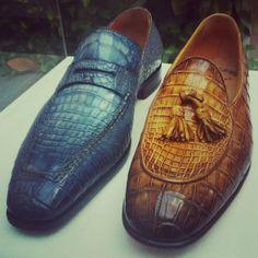 Santoni alligator loafers..